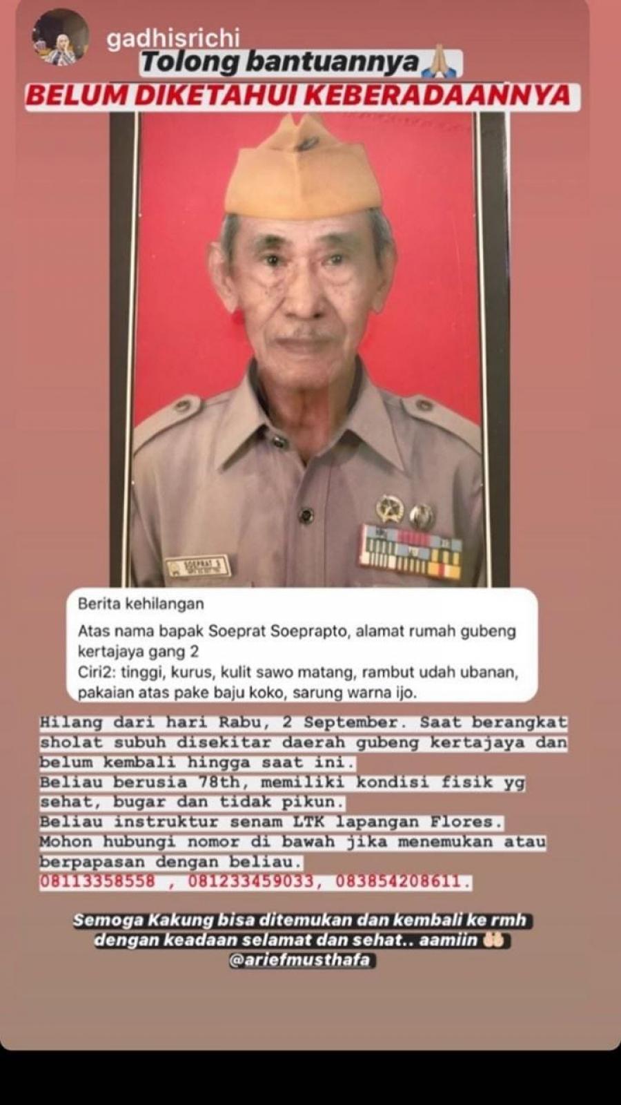 Mohon bantuannya salah satu Veteran kita Bapak Soeprat Soeprapto